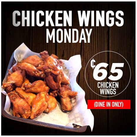 Chicken Wings Monday - 65cent Chicken Wings - Dine In Only
